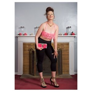 M/L Tassel Pink Fringe Swimsuit Bralette Top